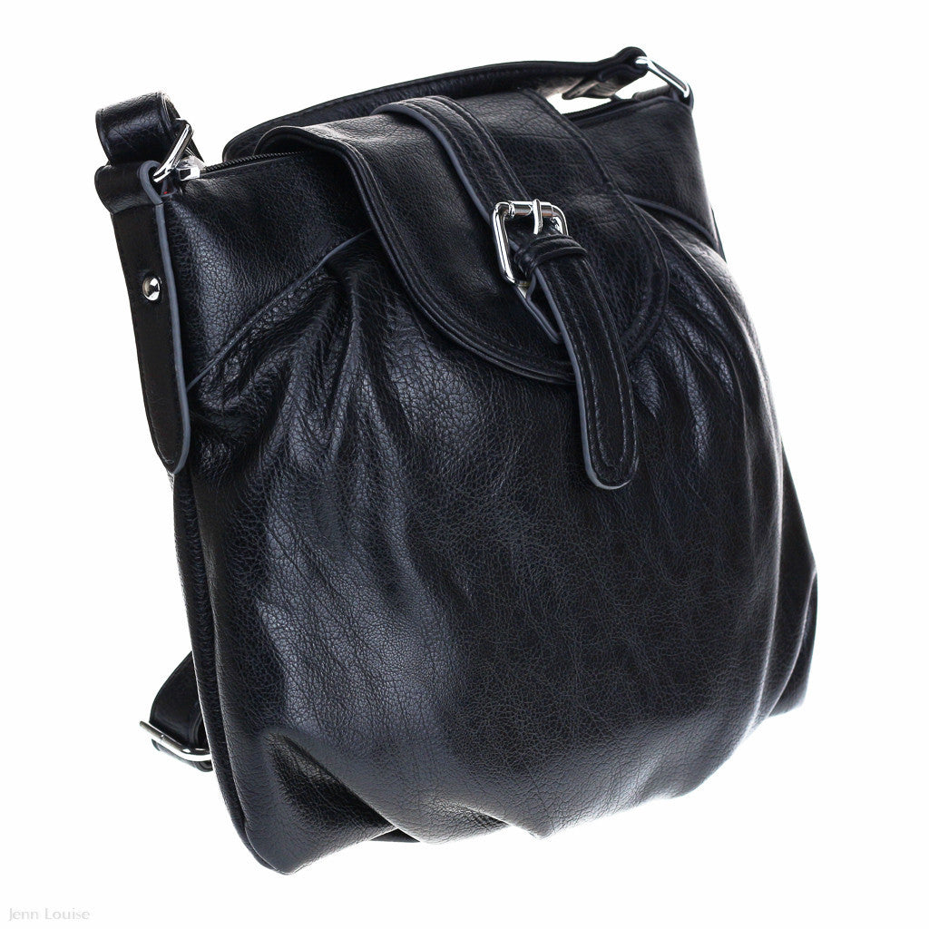 Gathered Hobo Bag (Black)