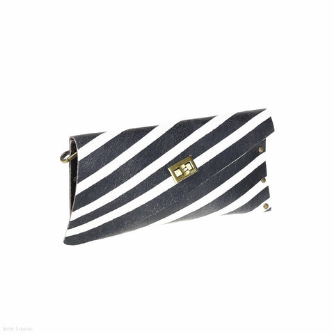 Leather Cross Clutch (Black/White)