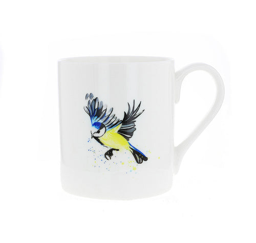 Design is taken from an original watercolor by Penelope Eyre. The delicate design features a Blue Tit in flight.