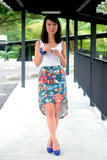 Frances High-low Floral Skirt in Green - Mint Ooak - Skirt - 1