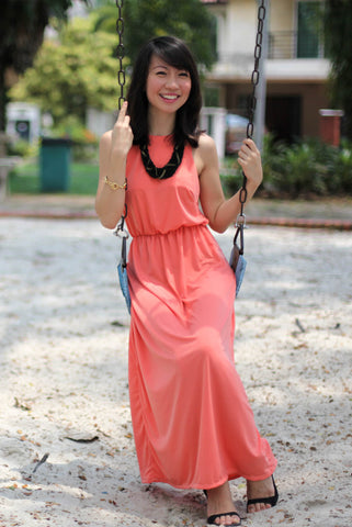 Ann Classic Maxi in Peach - Mint Ooak - Dress - 1