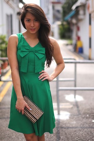 Alya Ribbon Dress in Emerald Green - Mint Ooak - Dress - 1