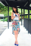 Frances High-low Floral Skirt in Green - Mint Ooak - Skirt - 2