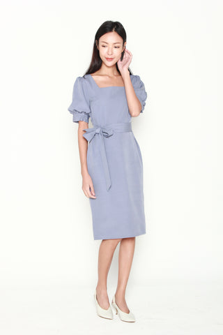 Adrienne Puff Sleeve Dress in Grey