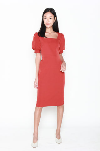 Adrienne Puff Sleeve Dress in Red