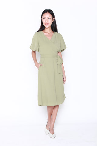 Charlene Wrap Dress in Olive