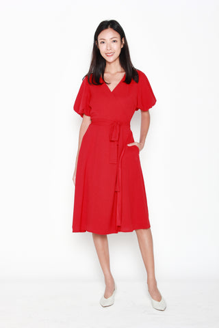 Charlene Wrap Dress in Red