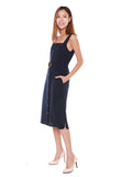 Charlene Button Down Trapeze Dress in Navy