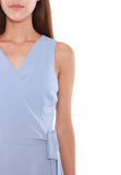 Janice Pleated Wrap Dress in Sky Blue