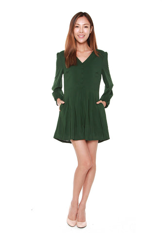 Joanna Long Sleeved Romper in Forest