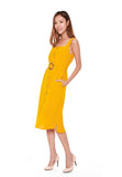 Charlene Button Down Trapeze Dress in Mustard