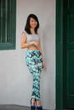Jas Printed Floral Jeggings in blue - Mint Ooak - Pants/Jegging - 2