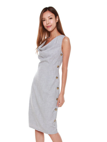 Tanya Cowl Neck Dress in Light Grey