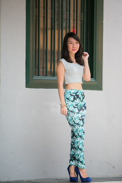Jas Printed Floral Jeggings in blue - Mint Ooak - Pants/Jegging - 1