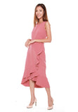 Helen Waterfall Ruffles Dress in Salmon