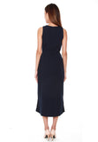 Helen Waterfall Ruffles Dress in Navy