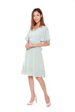 Germaine Flutter Sleeves Dress in Light Green Blue