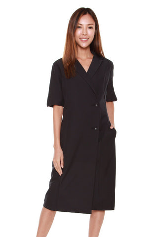 Olivia Lapel Collar Dress in Black