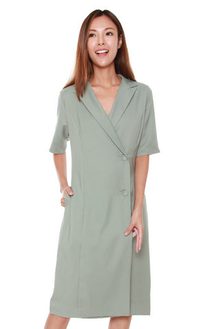 Olivia Lapel Collar Dress in Mint