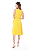 Janice Pleated Wrap Dress in Sunshine