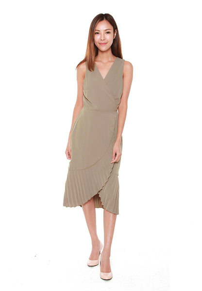 Bertha Pleated Wrap Dress in Olive