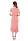 Bertha Pleated Wrap Dress in Salmon