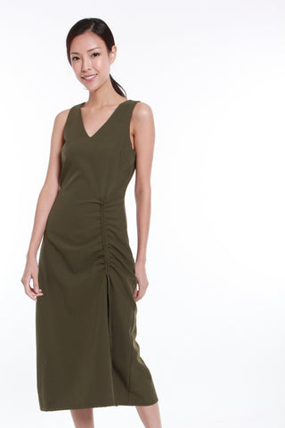 Angela Asymmetrical Gathered Drawstring Dress in Olive