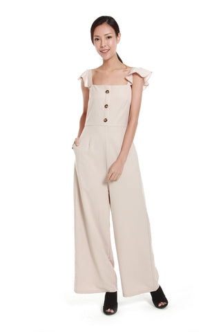 Rebecca Button Jumpsuit in Cream