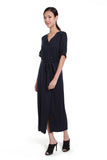 Delilah Asymmetrical Button Down Dress in Navy