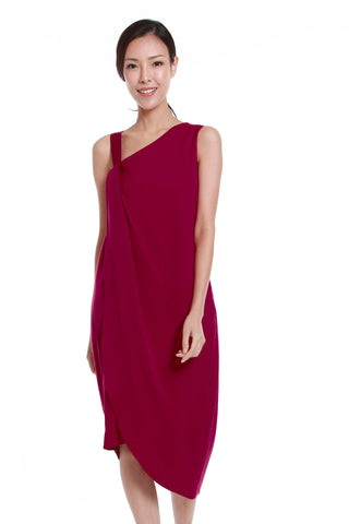 Liv Toga Dress in Magenta