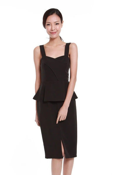Jessica Center Slit Peplum Dress in Black