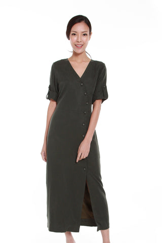 Delilah Asymmetrical Button Down Dress in Forest