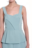 Jessica Center Slit Peplum Dress in Sky Blue