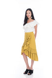 Elena Pleated Layer Ruffle Skirt in Mustard
