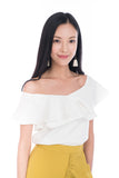 Sierra Off Shoulder Ruffle Top in Cream