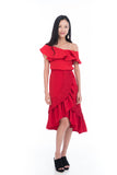 Elena Pleated Layer Ruffle Skirt in Red