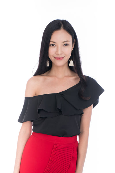 Sierra Off Shoulder Ruffle Top in Black
