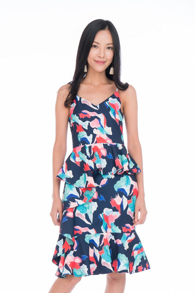 Aria Peplum Detail Sweet Heart Dress in Navy