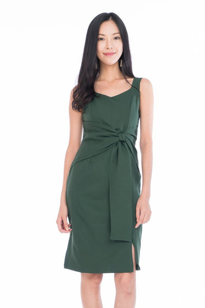 Maia Knot Tie Midi in Forest