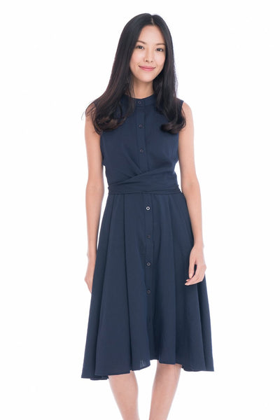 Lillie Mandarin Collar Button Skater in Navy