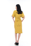 Laini Tie Cross Multiway Wiggle Dress in Mustard