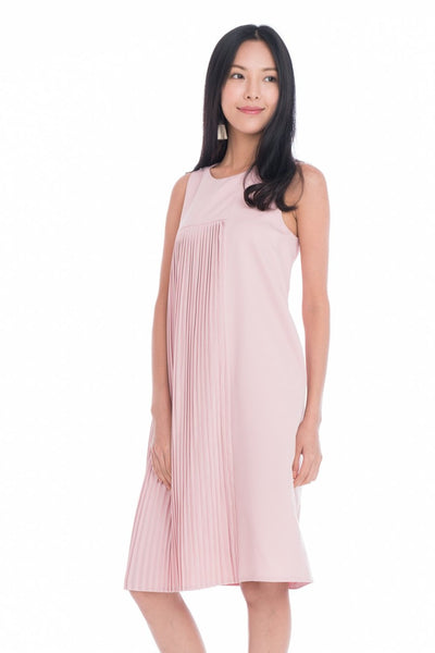 Dalia Pleated Layer Shift Dress in Powder Pink