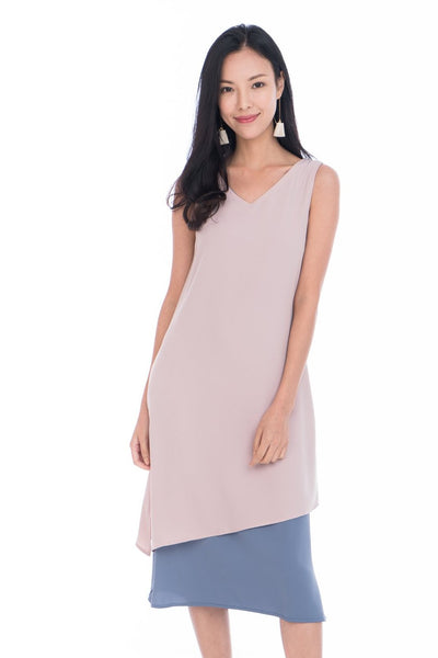 Erin Reversible Midi Dress in Powder Pink