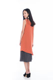 Erin Reversible Midi Dress in Orange