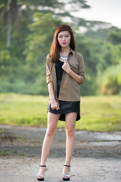 Hannah Military Shirt in khaki - Mint Ooak - Top - 1