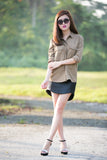 Hannah Military Shirt in khaki - Mint Ooak - Top - 5