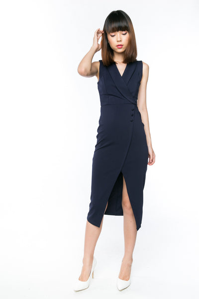 Ally Tux Button Midi in Navy