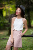 Jean Tailored Pleated Culottes in Dusty Pink - Mint Ooak - Bottom - 1