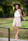 Jean Tailored Pleated Culottes in Dusty Pink - Mint Ooak - Bottom - 5