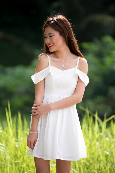 Laura Cold-shoulder Skater Dress in White - Mint Ooak - Dress - 1